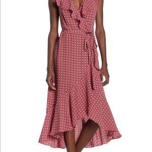 Max Studio High Low Midi Wrap Dress